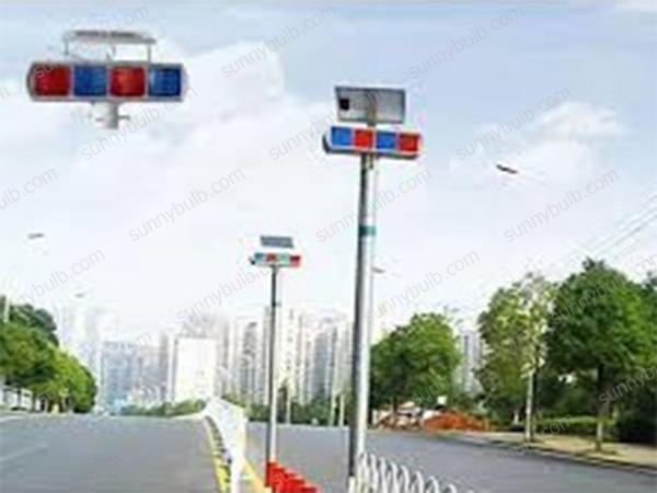 double-sided solar traffic warning lights